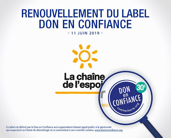 Renouvellement du label Don en Confiance
