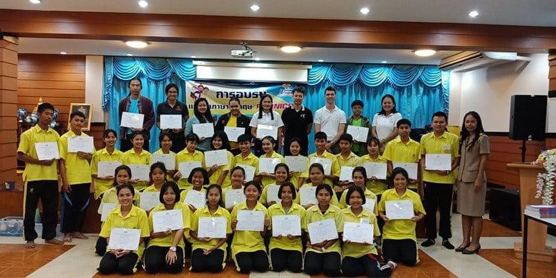 Session de formation d'anglais par la phonétique en Thaïlande